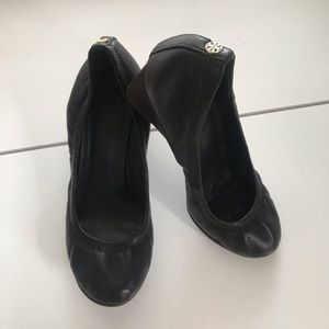 Tory Burch Eddie Black Leather Wedge 7.5